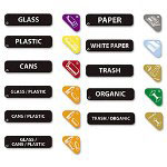 Rubbermaid Recycle Label Kit, 44 Labels in Three Languages, 8 x 1-1/2