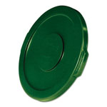 "Rubbermaid Flat Top Lid for 10-Gallon Round Brute Container, 16"" dia., Dark Green, 6/Carton"