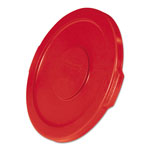 "Rubbermaid Flat Top Lid for 10-Gallon Round Brute Containers, 16"" dia., Red, 6/Carton"
