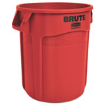 Rubbermaid Round Brute Container, Plastic, 10 gal, Red, 6/Carton