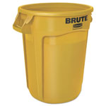 Rubbermaid Round Brute Container, Plastic, 10 gal, Yellow, 6/Carton