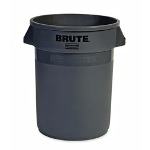 Rubbermaid Brute Refuse Container, Round, Plastic, 32 gal, Gray