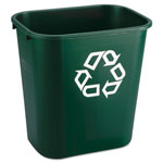 Rubbermaid Deskside Paper Recycling Container, Rectangular, Plastic, 7 gal, Green