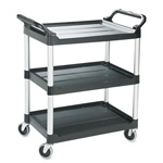 Rubbermaid Economy Plastic Cart, 3-Shelf, 200lbs, 18-5/8 x 33-5/8 x 37-3/4, Black