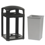 Rubbermaid Landmark Series Classic Dome Top Container w/Ashtray, Plastic, 35 gal, Sable
