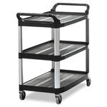 Rubbermaid 3 Shelf Open Sided Utility Cart, Black