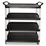 Rubbermaid Open Sided Utility Cart, 4-Shelf, 300lbs, 40-5/8 x 20 x 51, Black