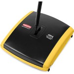 "Rubbermaid Dual Action Sweeper, Boar/Nylon Bristles, 42"" Steel/Plastic Handle, Black/Yellow"