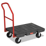 "Rubbermaid Black Standard Platform Truck, w/Rubber Casters, Crossbar Handle, 36"" x 24"""