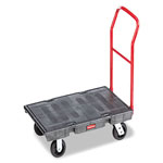 "Rubbermaid Black Standard Platform Truck w/Rubber Casters, Crossbar Handle, 48"" x 24"""