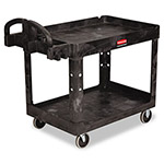 Rubbermaid Heavy-Duty Utility Cart, 2-Shelf, 500lbs, 26 x 45 x 33, Black