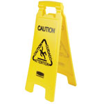 "Rubbermaid Wet Floor Sign, 'Caution"", Multilingual, 11"" x 25"", 6/CT, YW"