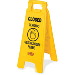 Rubbermaid Floor Sign, Closed, Multi-Lingual, 2-sided, 6/CT, Yellow