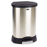 Rubbermaid Step-On Metal Indoor Trash Can, 23 Gallon, Black