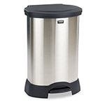 Rubbermaid Step-On Metal Indoor Trash Can, 30 Gallon, Black