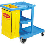 Rubbermaid Multi-Shelf Cleaning Cart, 3 Shelves, 21 3/4w x 46d x 38 3/8h, Blue