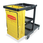 "Rubbermaid Janitor Cart, 8"" Wheels, 4"" Casters, 21-3/4"" x 46"" x 38-3/8"", Black"