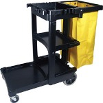 Rubbermaid Cleaning Cart with Zippered Yellow Vinyl Bag, Black