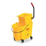 Rubbermaid Wavebrake 26-Quart Side Press Mop Bucket & Wringer Combo, Yellow