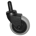 "Rubbermaid Replacement Swivel Bayonet Casters, 3"" Wheel, Thermoplastic Rubber, Black"