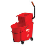 Rubbermaid WaveBrake Side-Press Wringer/Bucket Combo, 8.75 gal, Red