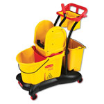 Rubbermaid WaveBrake Mopping Trolley Down-Press Bucket/Wringer Combo, 8.75 gal, Yellow