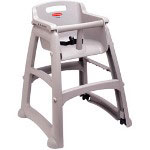 Rubbermaid Sturdy Chair Youth Seat with Wheels, Platinum