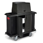 "Rubbermaid Full Size Housekeeping Cart with Doors, 22""x60""x67 1/2"", Black"