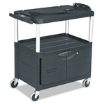 Rubbermaid Audio-visual Cart, 3 Shelves w/ Cabinet, 3 Outlets, Black