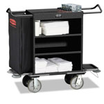 Rubbermaid Cruise Housekeeping Cart, Black, Steel, 19 x 50 x 55, 3-Shelf