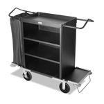 Rubbermaid Deluxe High-Capacity Housekeeping Cart, Black, Steel, 22 x 50 x 55, 3-Shelf