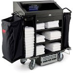 Rubbermaid Black Deluxe High Security Housekeeping Cart