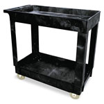 "Rubbermaid Black 2 Shelf Cart, 16"" x 30"""