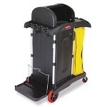 Rubbermaid High-Security Healthcare Cleaning Cart, 22w x 48-1/4d x 53-1/2h, Black