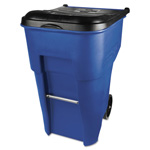 Rubbermaid Brute Roll-Out Plastic Wheeled Trash Can, 95 Gallon, Blue
