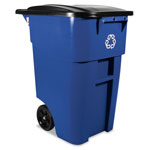 Rubbermaid Brute Recycling Rollout Container, Square, 50gal, Blue