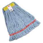 "Rubbermaid Web Foot Wet Mops, Cotton/Synthetic, Blue, Small, 1"" Yellow Headband, 6/Carton"