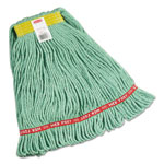 "Rubbermaid Web Foot Wet Mops, Cotton/Synthetic, Green, Small, 1""Yellow Headband,6/Carton"
