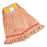 "Rubbermaid Web Foot Wet Mops, Cotton/Synthetic, Orange, Small, 1""Yellow Headband,6/Carton"