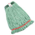 Rubbermaid Web Foot Wet Mop Heads, Shrinkless, Cotton/Synthetic, Green, Medium