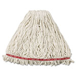 Rubbermaid Web Foot Wet Mop Heads, Shrinkless, Cotton/Synthetic, White, Large