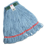 Rubbermaid Swinger Loop Wet Mop Heads, Cotton/Synthetic, Blue, Medium