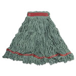 Rubbermaid Swinger Loop Wet Mop Heads, Cotton/Synthetic, Green, Large, 6/Carton