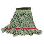 Rubbermaid Swinger Loop Wet Mop Heads, Cotton/Synthetic Blend, Green, Large, 6/Carton