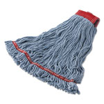 Rubbermaid Swinger Loop Shrinkless Mop Heads, Cotton/Synthetic, Blue, Large, 6/Carton