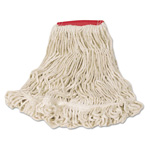 Rubbermaid Super Stitch Looped-End Wet Mop Head, Cotton/Synthetic, Large Size, Red/White