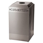 Rubbermaid Designer Line Silhouettes Recycling Receptacle, Can/Bottle, Steel, 26gal, Silver