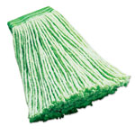 "Rubbermaid Synthetic Wet Mop Heads, Green, 16 oz, 5"" Headband, 6/Carton"