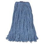 Rubbermaid Cut-End Blend Mop Heads, Blue, 24 oz, Cotton/Synthetic, 1-in. Headband