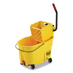 Rubbermaid WaveBrake 2.0 Bucket/Wringer Combos, Side-Press, 44 qt, Plastic, Yellow